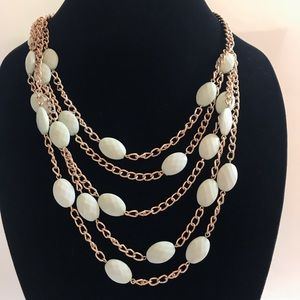 Gold and light mint 5 strand statement necklace